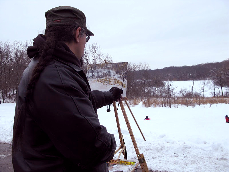 Anthony Sell painting at Whitnall Park in Hales Corners, Wisconsin