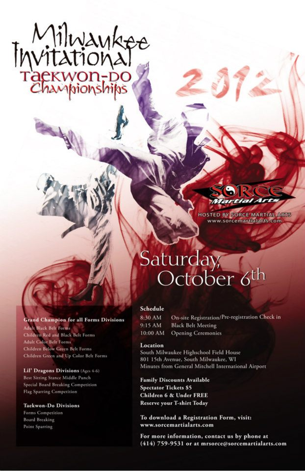 2012 Milwaukee Invitational Taekwon-Do Championships Tournament Designs