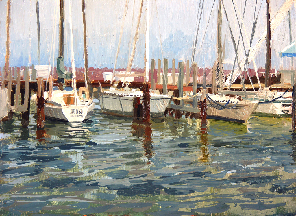 """South Shore Marina, No.10 - SOLD 6"""" x 8"""" Oil on Panel ID#: 2011_PA_MARINA_010 This painting is also available as a high quality Giclee Print.  Click on the image above for more information. © 2013 Anthony Sell - All Rights Reserved."""