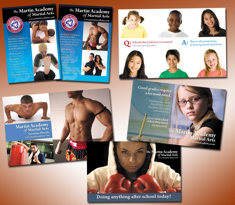 Martin Academy of Martial Arts Promotional Postcard Designs