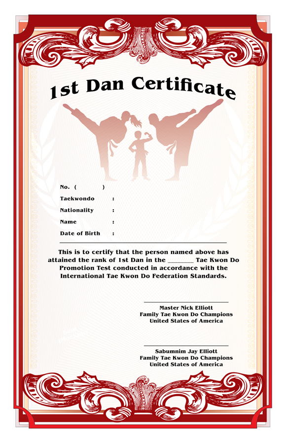 Elliot's Family TKD Champions Black Belt Certificate Design