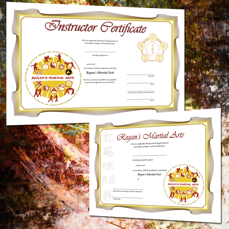 Regan's Martial Arts Certificate Designs