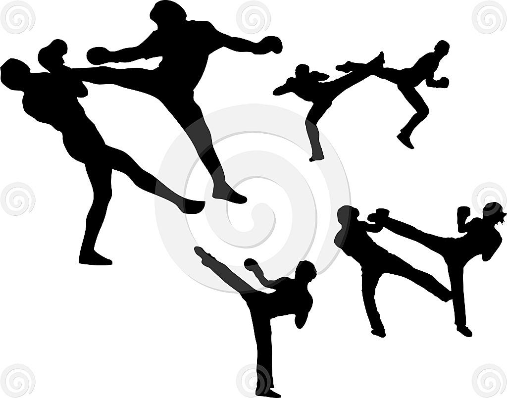 Stock Illustration: Martial Arts - High Kick Set 1