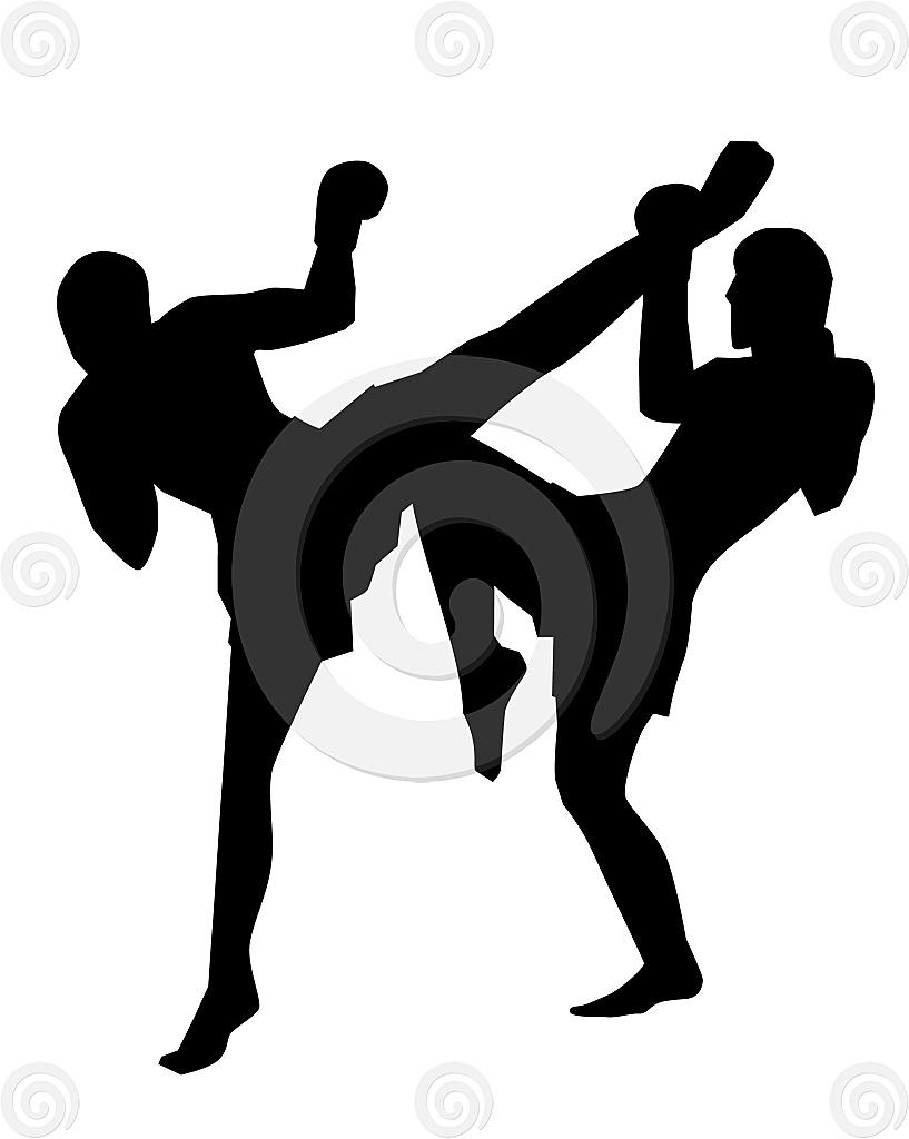 Stock Illustration: Kickboxers Silhouette
