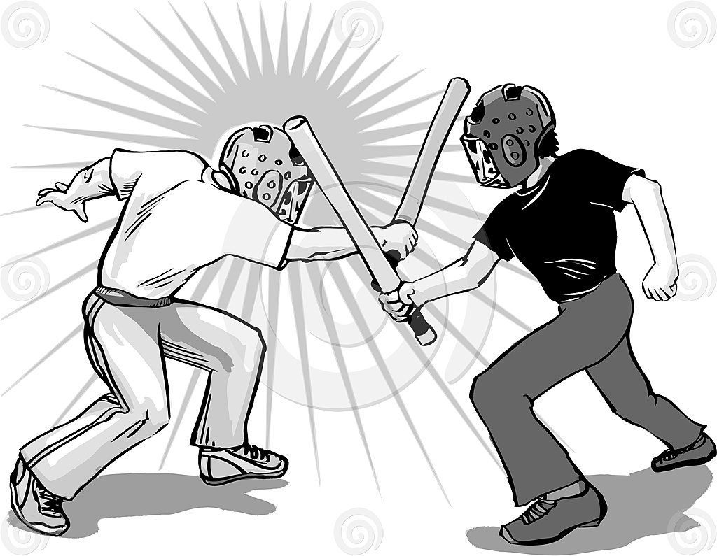 Stock Illustration: Padded Stickfight
