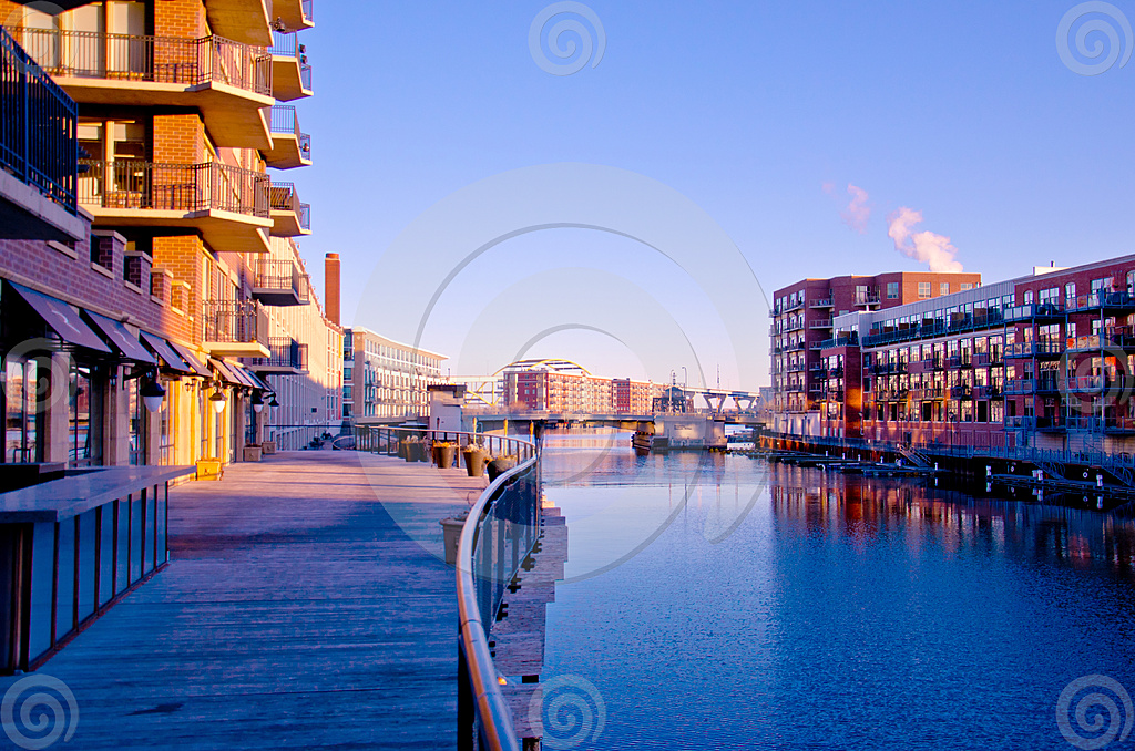 Stock Photo: Milwaukee Third Ward Riverwalk