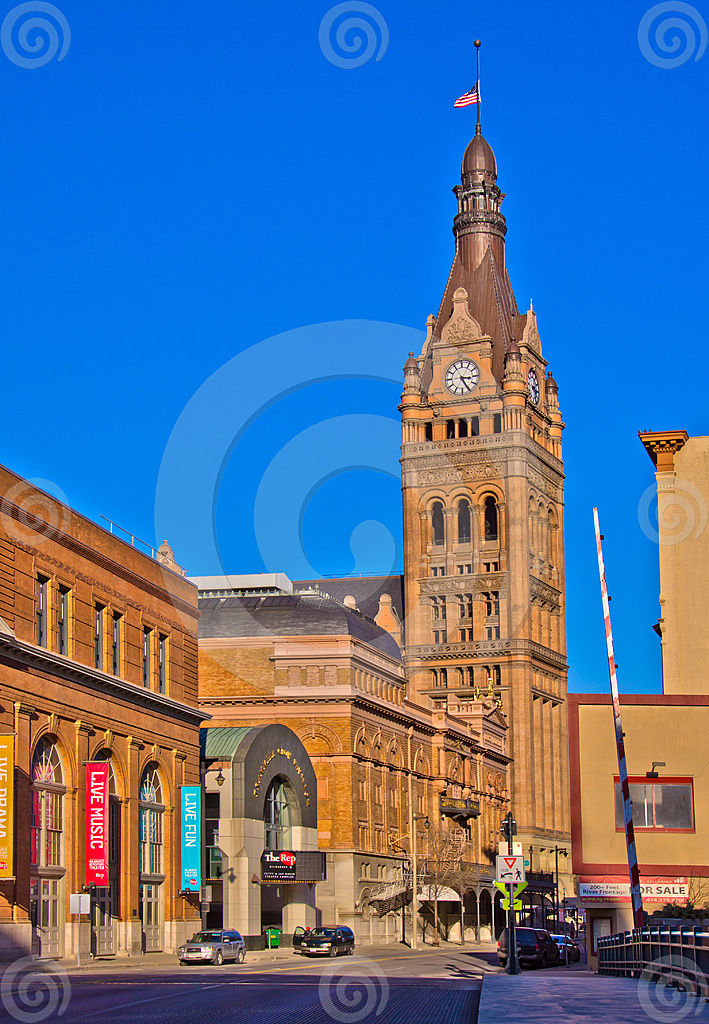 Stock Photo: Clock Tower At Milwaukee City Hall