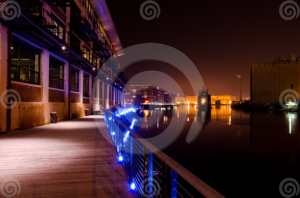 Stock Photo: Night Falls On The Milwaukee River