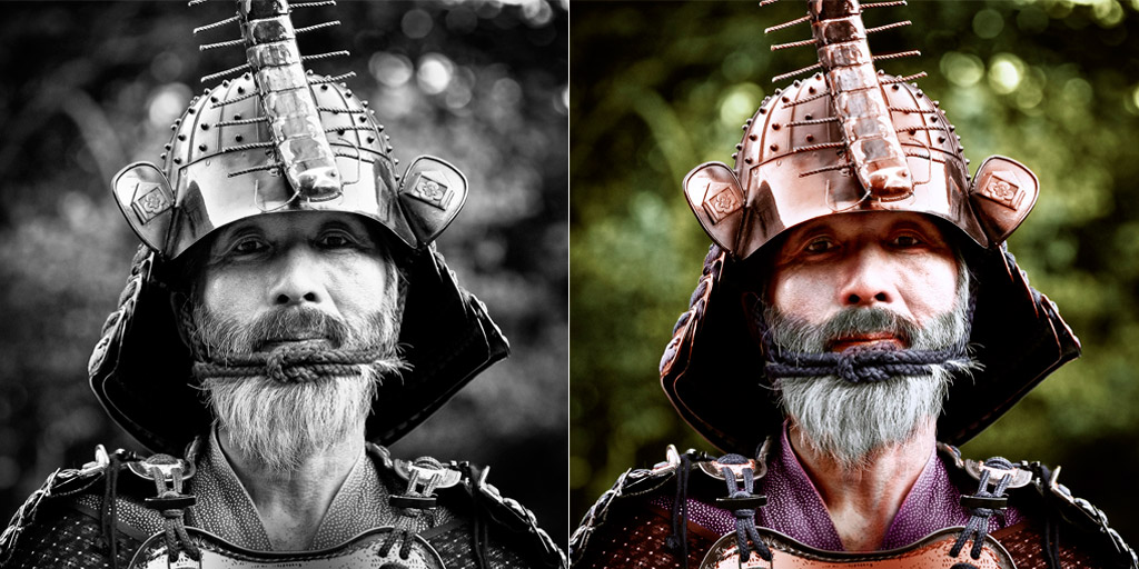 Colorized Samurai Photograph