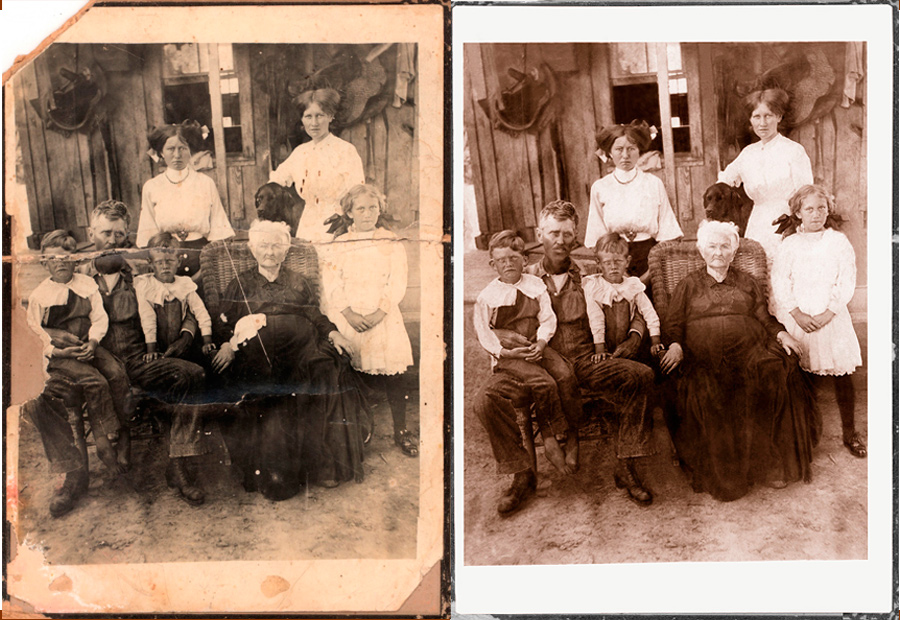 A dramatic restoration of an old damaged photograph
