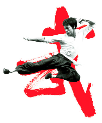 This was the image that my client wanted to recreate.  A very famous photograph of Bruce Lee used on a poster.