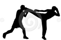 Stock Illustration: Kickboxers Silhouette