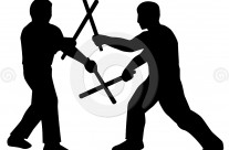Stock Illustration: Stickfighters Silhouette
