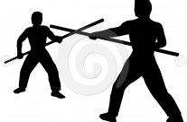 Stock Illustration: Staff Fighting Silhouette